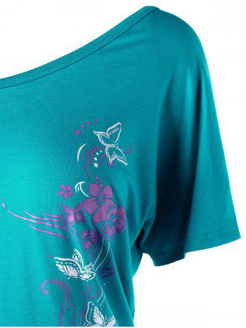 Chic Skew Collar Butterfly and Floral T-Shirt - 2XL MALACHITE GREEN Mobile