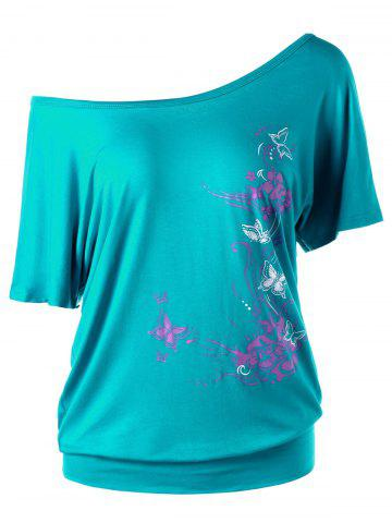 Chic Skew Collar Butterfly and Floral T-Shirt MALACHITE GREEN L