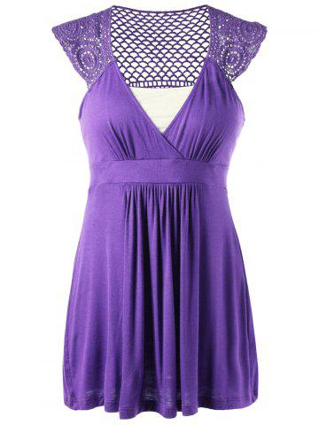 Fashion Cap Sleeve Crochet Trim Tunic Top - M PURPLE Mobile
