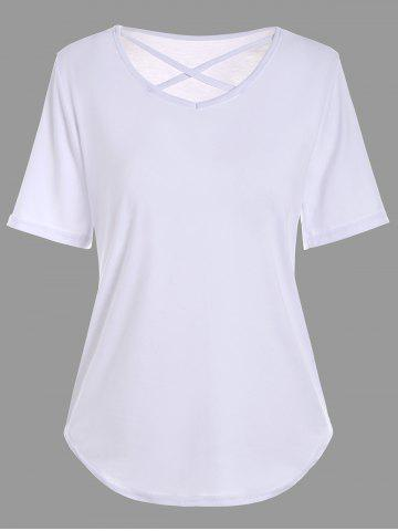 Online V Neck Criss Cross Cut Out T Shirt - XL WHITE Mobile