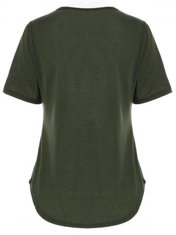 Affordable V Neck Criss Cross Cut Out T Shirt - XL GREEN Mobile