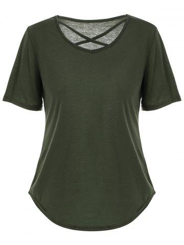 Affordable V Neck Criss Cross Cut Out T Shirt - L GREEN Mobile