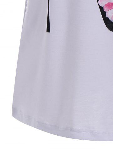 Affordable Floral High Heel Print Tunic T Shirt - S WHITE Mobile