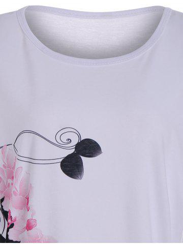 Discount Floral High Heel Print Tunic T Shirt - S WHITE Mobile