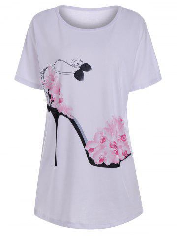 Sale Floral High Heel Print Tunic T Shirt WHITE M