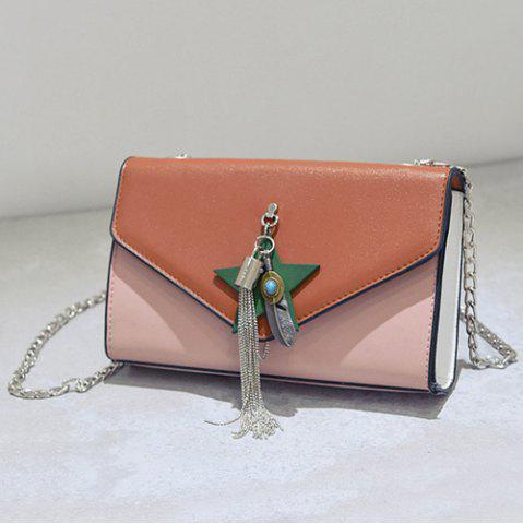 Sale Tassel Color Block Cross Body Bag - BROWN  Mobile
