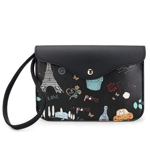 Chic PU Leather Cartoon Printed Wristlet BLACK