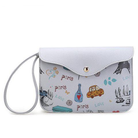 Discount PU Leather Cartoon Printed Wristlet - GRAY  Mobile
