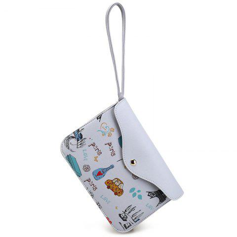 Outfits PU Leather Cartoon Printed Wristlet - GRAY  Mobile