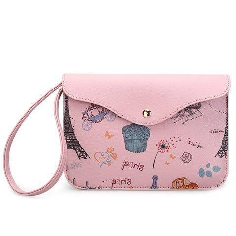 Outfits PU Leather Cartoon Printed Wristlet PINK