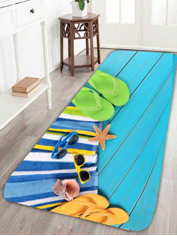 Shops Beach Style Slippers Sunglasses Starfish Skidproof Bath Rug - W24 INCH * L71 INCH BLUE Mobile