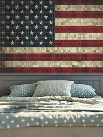 Store Retro Mosaic American Flag Wall Hangings Tapestry - W59 INCH * L79 INCH COLORFUL Mobile