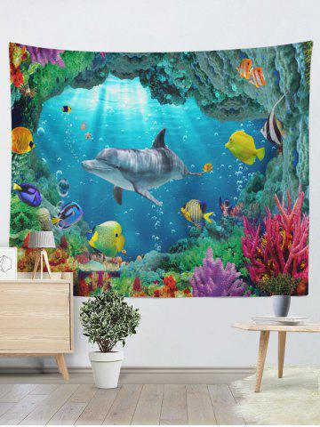 Cheap 3D Sea World Print Rectangle Wall Hanging Tapestry - W79 INCH * L59 INCH OCEAN BLUE Mobile