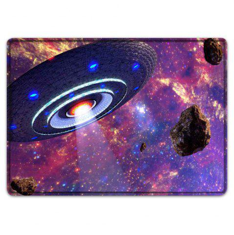 Trendy UFO Galaxy Pattern Water Absorption Flannel Area Rug - W16 INCH * L24 INCH COLORMIX Mobile