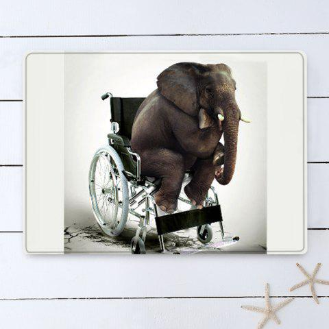 Buy Elephant On The Wheelchair Pattern Water Absorption Flannel Area Rug - W16 INCH * L24 INCH WHITE Mobile