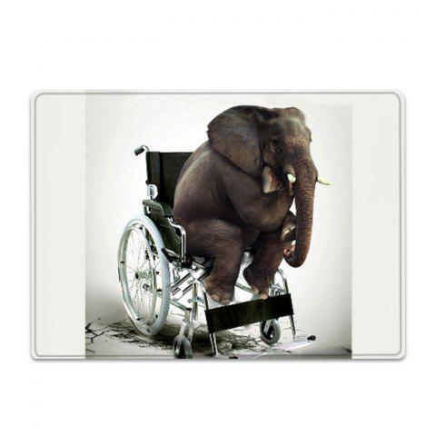 Latest Elephant On The Wheelchair Pattern Water Absorption Flannel Area Rug - W16 INCH * L24 INCH WHITE Mobile