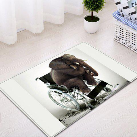 Best Elephant On The Wheelchair Pattern Water Absorption Flannel Area Rug - W16 INCH * L24 INCH WHITE Mobile