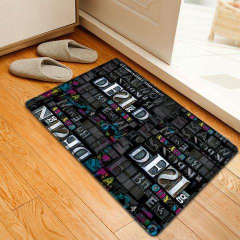 Affordable Letters Pattern Indoor Outdoor Water Absorption Area Rug - W16 INCH * L24 INCH BLACK Mobile