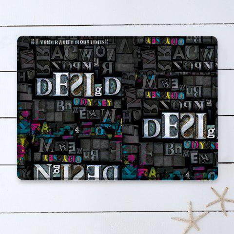 Trendy Letters Pattern Indoor Outdoor Water Absorption Area Rug - W16 INCH * L24 INCH BLACK Mobile
