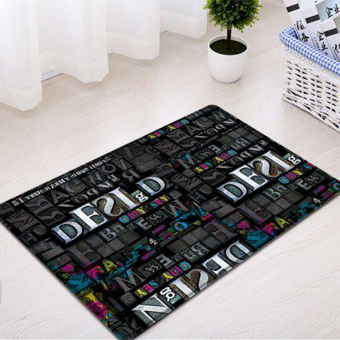 New Letters Pattern Indoor Outdoor Water Absorption Area Rug - W16 INCH * L24 INCH BLACK Mobile