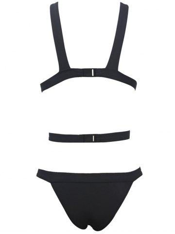 Online Plunging Neck Cut Out Bandage Swimsuit - S BLACK Mobile
