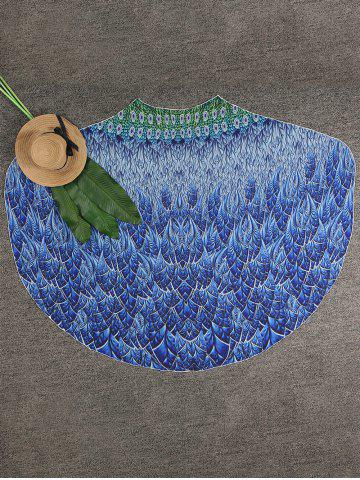 Feather Pattern Beach Cover Up Sarong - Blue - One Size