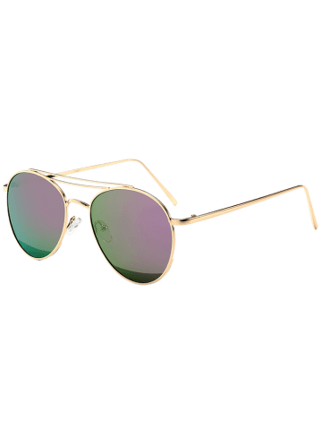 Chic Reflective Double Metallic Crossbar Pilot Sunglasses - PURPLE  Mobile