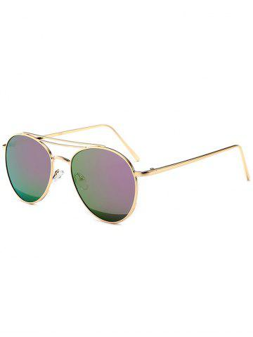 Shop Reflective Double Metallic Crossbar Pilot Sunglasses - PURPLE  Mobile