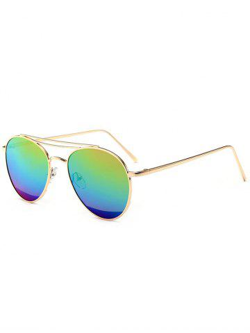 Hot Reflective Double Metallic Crossbar Pilot Sunglasses - BLUE+YELLOW+GREEN  Mobile