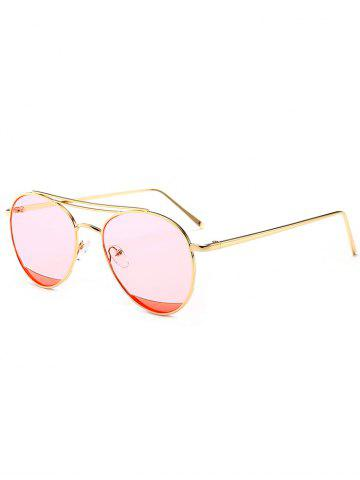 Chic Reflective Double Metallic Crossbar Pilot Sunglasses - CLEAR PINK  Mobile