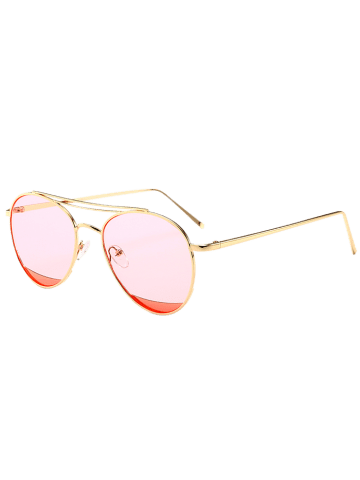 Affordable Reflective Double Metallic Crossbar Pilot Sunglasses - CLEAR PINK  Mobile