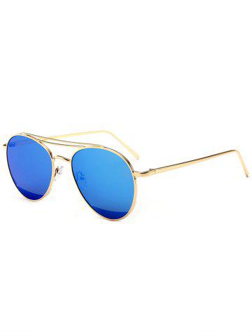 Latest Reflective Double Metallic Crossbar Pilot Sunglasses - BLUE  Mobile