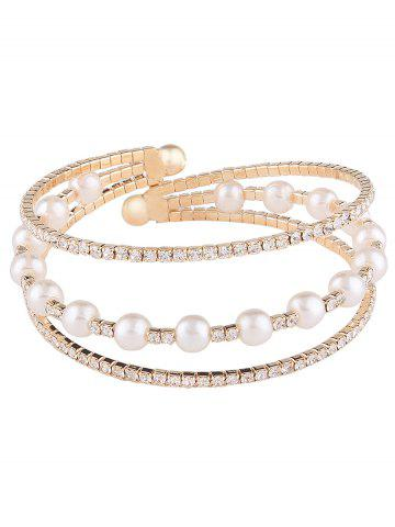 Discount Alloy Layered Rhinestone Faux Pearl Bangle Bracelet - GOLDEN  Mobile