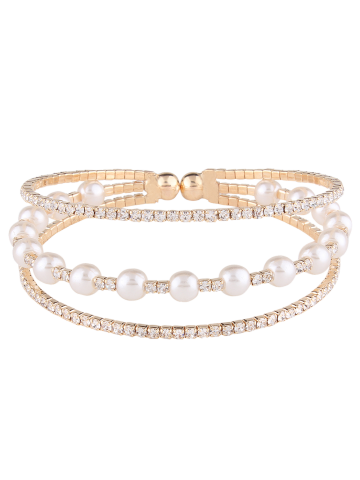 Online Alloy Layered Rhinestone Faux Pearl Bangle Bracelet - GOLDEN  Mobile