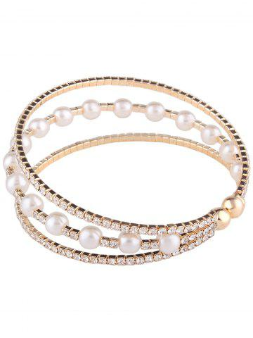 Affordable Alloy Layered Rhinestone Faux Pearl Bangle Bracelet - GOLDEN  Mobile