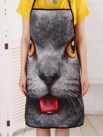 Affordable Kitchen Waterproof 3D Cat Head Printed Apron - 80*70CM DEEP GRAY Mobile