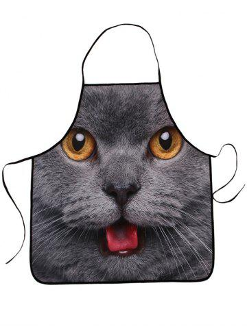 Discount Kitchen Waterproof 3D Cat Head Printed Apron - 80*70CM DEEP GRAY Mobile