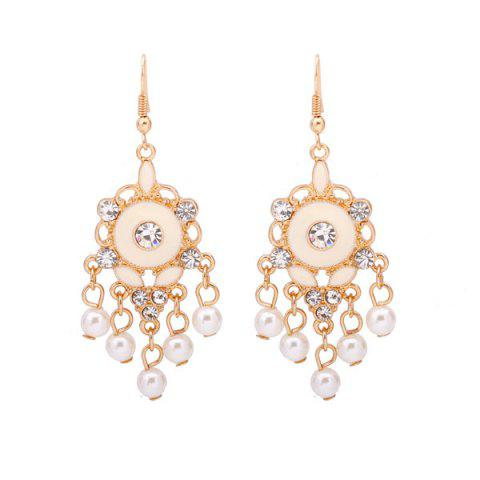 Discount Faux Pearl Rhinestone Chandelier Earrings GOLDEN