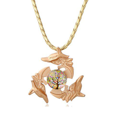 Latest Tree of Life Dolphin Fidget Spinner Decoration Necklace GOLDEN