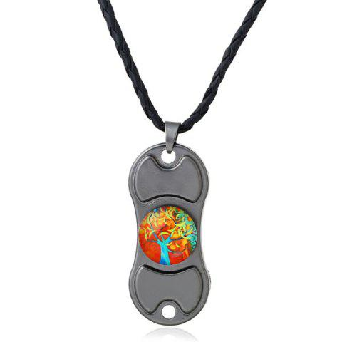 Tree of Life Decoration Hand Spinner Necklace - Gun Metal - 8