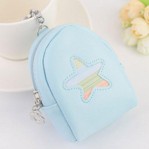 Buy Faux Leather Coin Purse Key Chain LIGHT BLUE