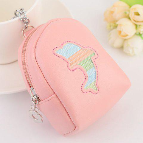 Store Faux Leather Coin Purse Key Chain PINK
