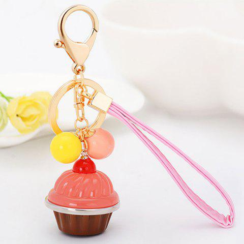 Online PU Leather Rope Cup Cake Key Chain PINK