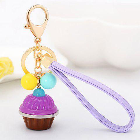 Sale PU Leather Rope Cup Cake Key Chain - PURPLE  Mobile