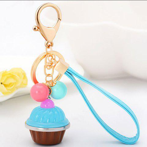 Best PU Leather Rope Cup Cake Key Chain LIGHT BLUE