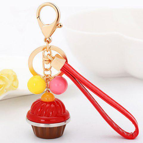 Hot PU Leather Rope Cup Cake Key Chain RED