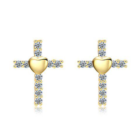Shops Rhinestone Crucifix Heart Tiny Stud Earrings