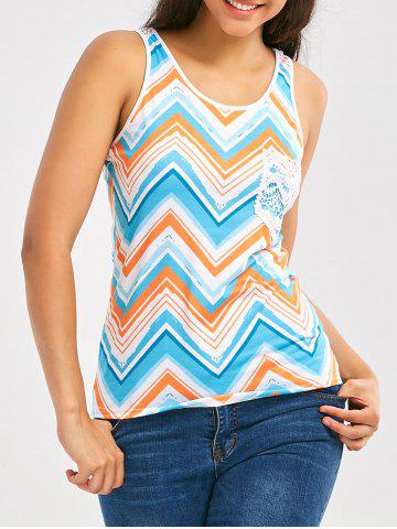 Color Block Chevron Print Tank Top - Colormix - 2xl