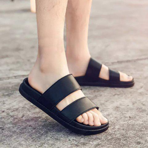 Outfits Faux Leather Double Strap Slippers - 43 BLACK Mobile