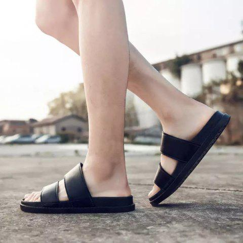 Trendy Faux Leather Double Strap Slippers - 43 BLACK Mobile